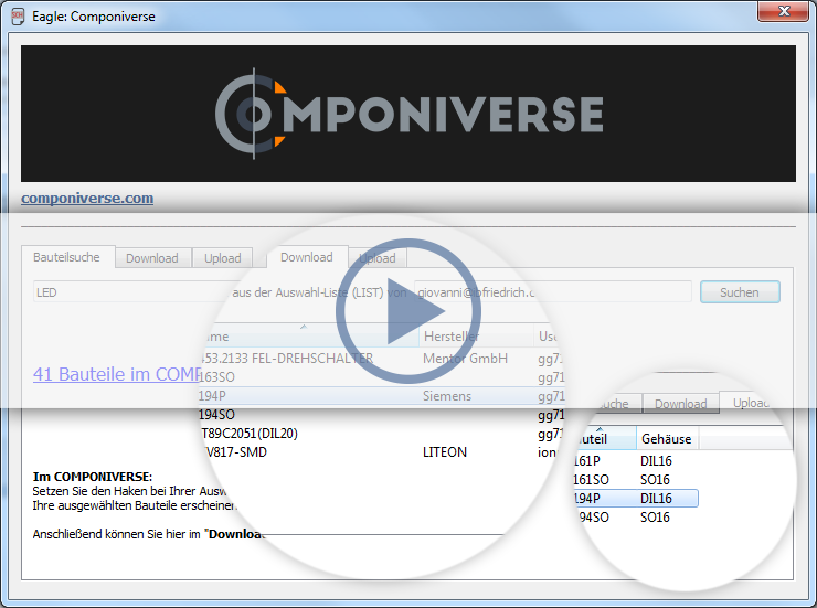 COMPONIVERSE - CAD component database / CAD parts by TARGET 3001!